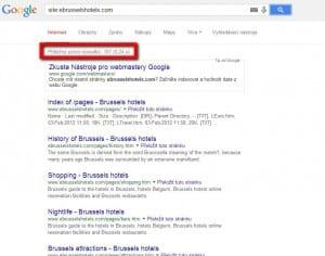 Stránky domény ebrusselshotels com v indexu Google.com