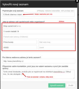 Activecampaign - Nový seznam - Nastavení údajů