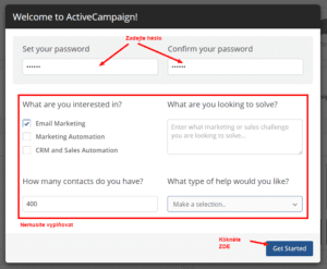 Activecampaign - Registrace - Zadání hesla