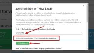 Thrive Leads: Vložení odkazu
