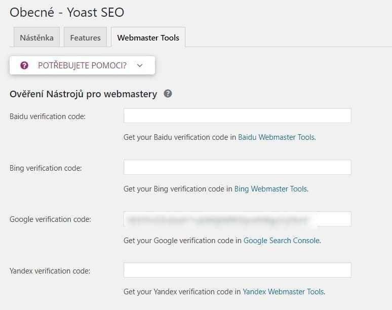 Yoast a verifikační kód