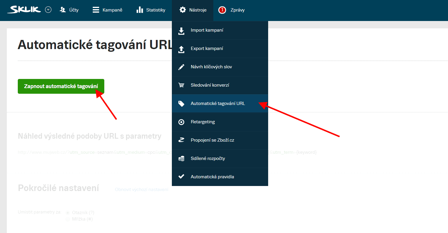 Automatické tagování URL