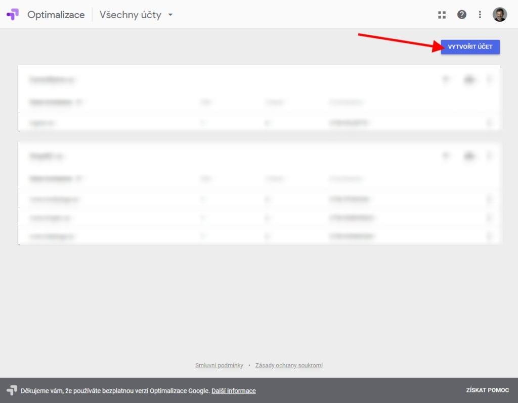 Google Optimize - Nový projekt