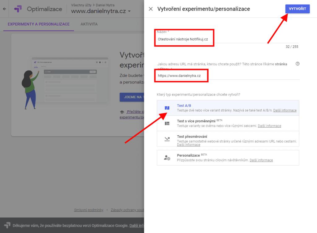 Google Optimize - Nastavení experimentu