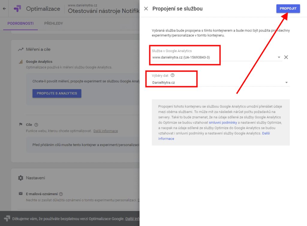 Google Optimize - napojení na Google Analytics