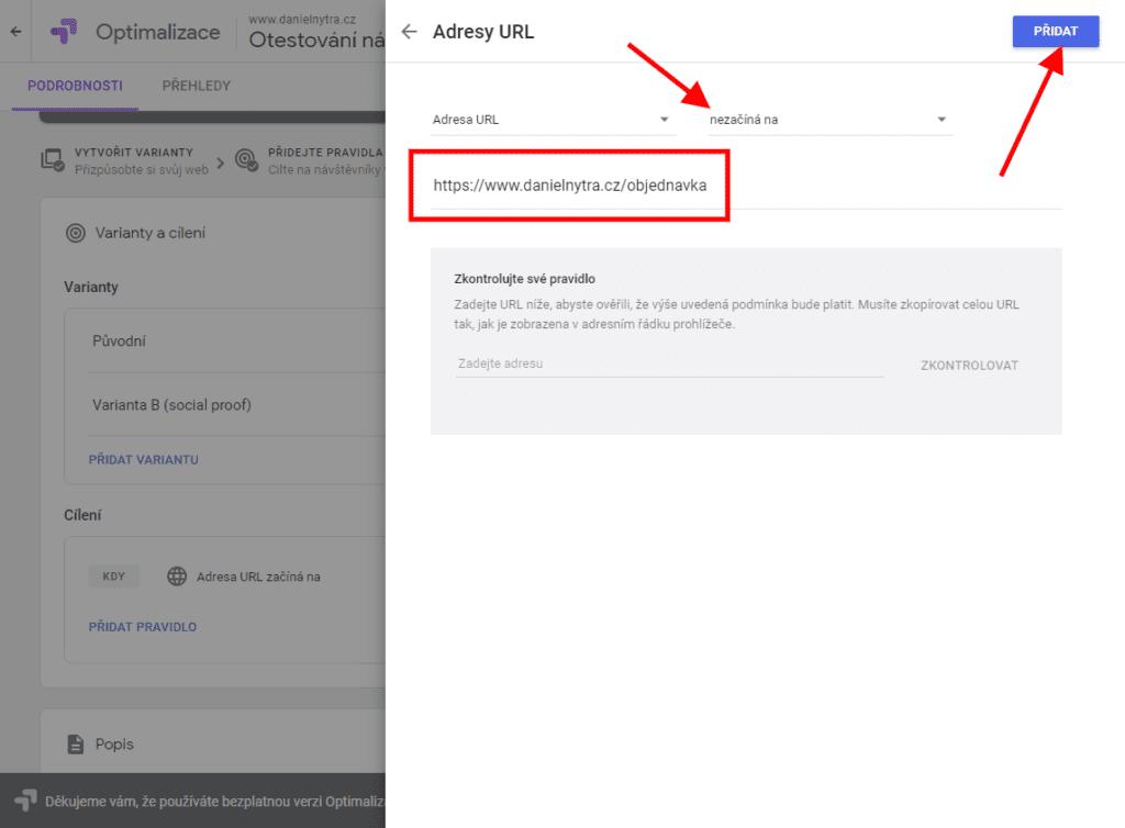 Google Optimize - vylučující pravidlo