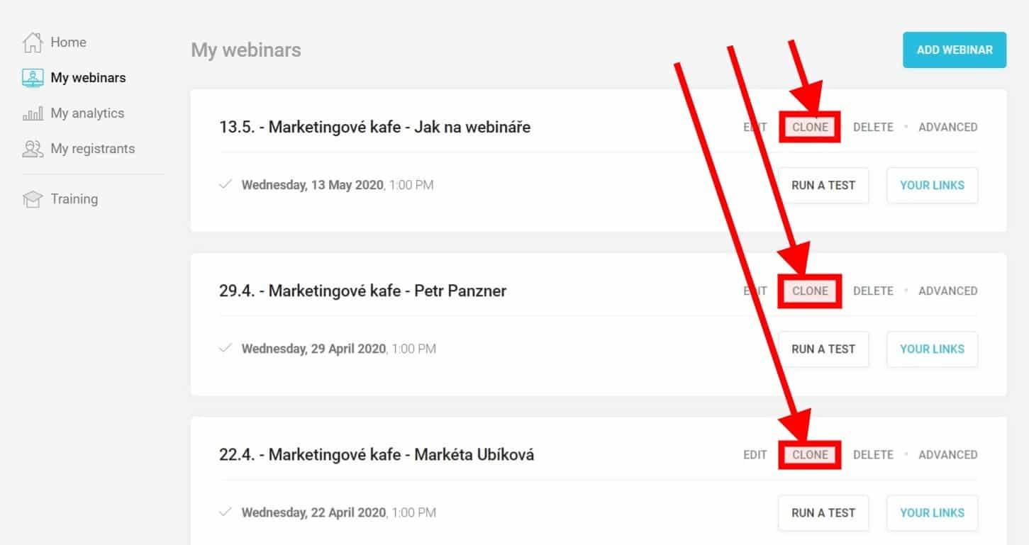 Webinarjam: Duplikace webináře