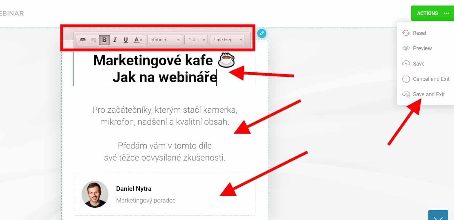 Webinarjam: Nastavení