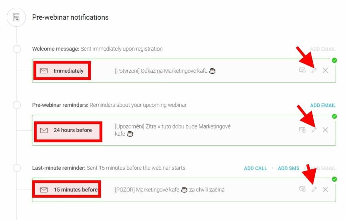 Webinarjam: Nastavení emailů
