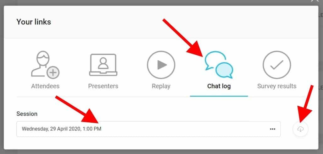 Webinarjam: Stáhnout logovací soubor online chatu (CSV)