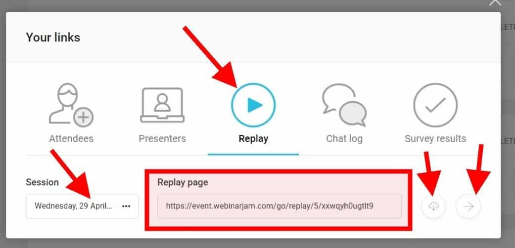 Webinarjam: Odkaz na záznam